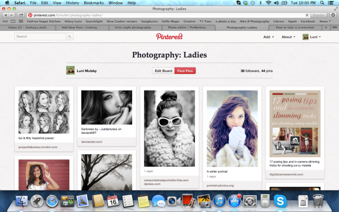 I love making pinterest boards with different pose ideas.  Before a shoot I print them out to get some ideas.