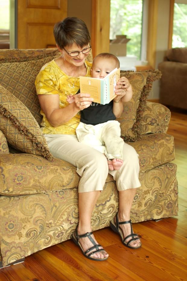 "reading ""pat the bunny"" with grandma"