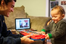 Opening presents with Grandma and Grandpa via Skype!