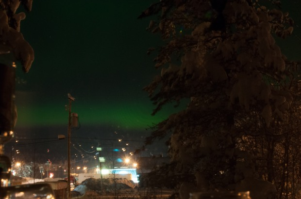 this isn't a superb picture by any means but I just wanted to show you that I saw Northern Lights last night, and I took this from our bedroom window!