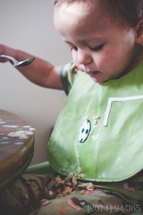 It was a little messy, but he really enjoys feeding himself. I guess you gotta start somewhere :)