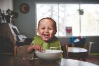 "my silly Shasta enjoying some ""joojoos"" (Rice Krispies)!"