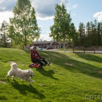 Nuni shows Shasta how to ride the trike down the hill.