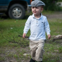I dressed him up a bit to go to a friends' house for dinner. I love this hat so much... I'm so glad he was happy to wear it!