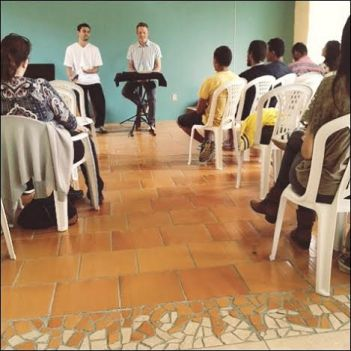 Nuni translating a sermon at church